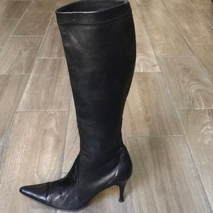 Cole Hann Black LeatherPointed Toe Tall Boots